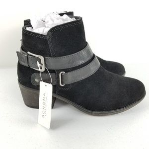 NWT Sonoma Black Suede Ankle Boots